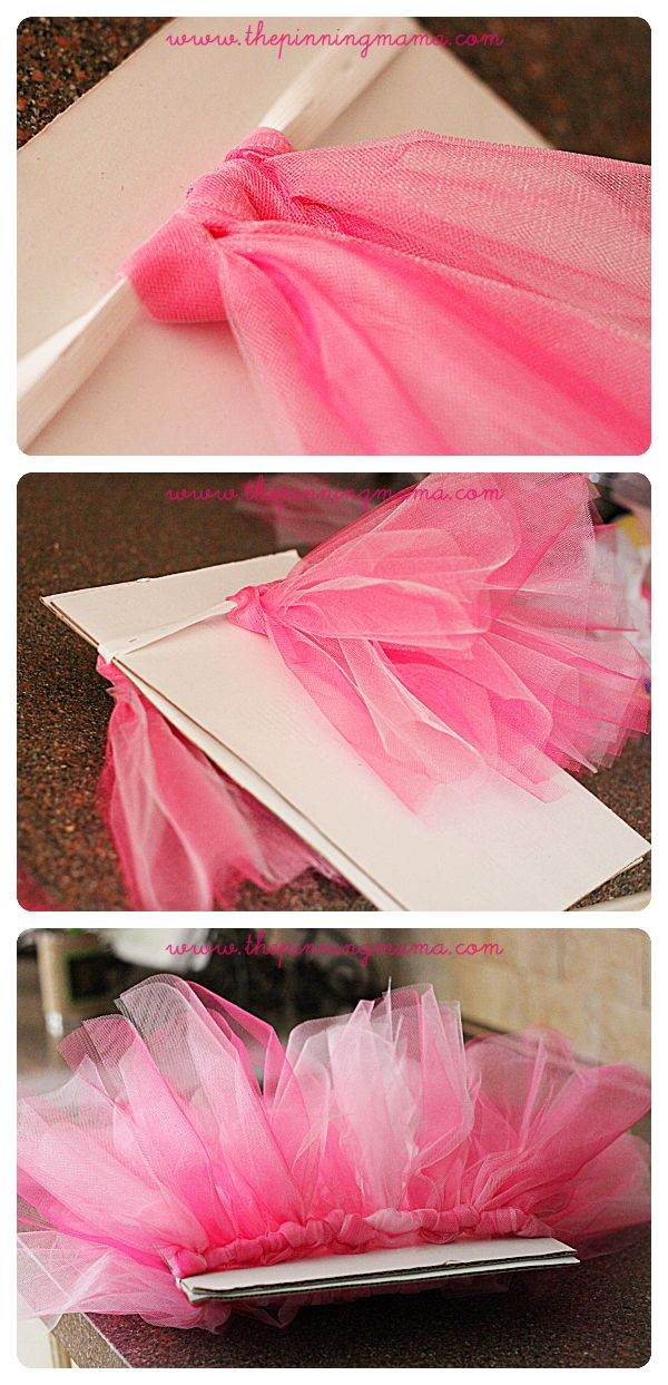 Your little princess will adore this pretty tutu skirt that is very easy to make without sewing. You will need: - wider elastic (1.5 inch); - tulle fabric; - scissors.