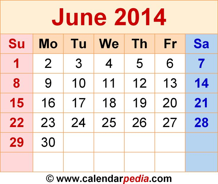 month of june 2014 calendar