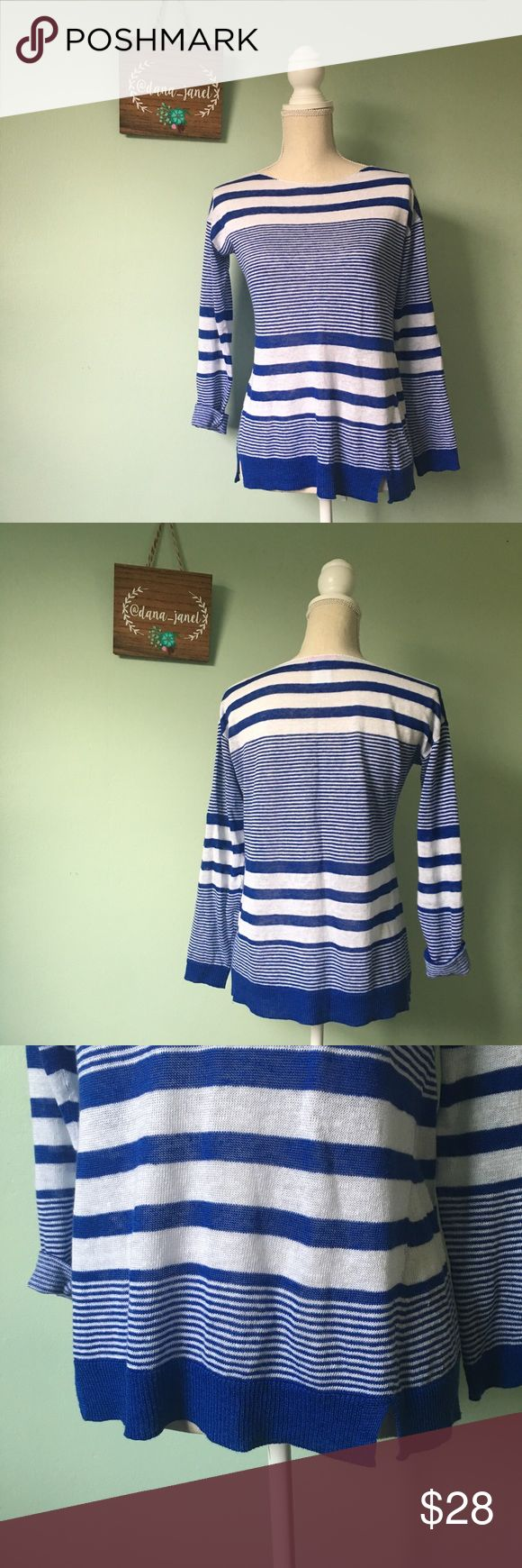 "Lilly Pulitzer Camilla Linen Sweater Blue XXS Beautiful animated striped sweater, in excellent condition expect for a minor makeup stain at the collar as pictured.  Worn once.  Please note the asymmetrical slit at the bottom of the shirt- adds to its character! I have the tags that I will send along.    Bust: 19"" pit to pit Length: 24"" Material: 100% Linen Brand: Lilly Pulitzer  If you have any questions, I'll gladly answer!  Dog friendly home 🐶🐶 