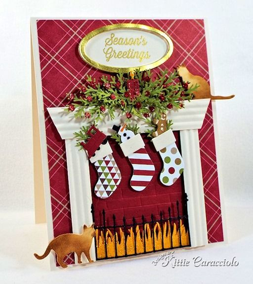Love the idea of a fireplace and stockings on a Christmas card