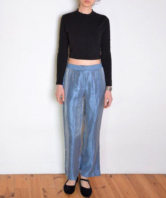 90's French blue taffeta pants shiny high by WoodhouseStudios