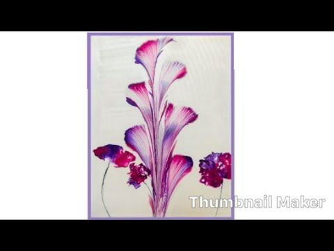 117) How to String Pull and Blow Acrylic Fluid Paint, Flowers