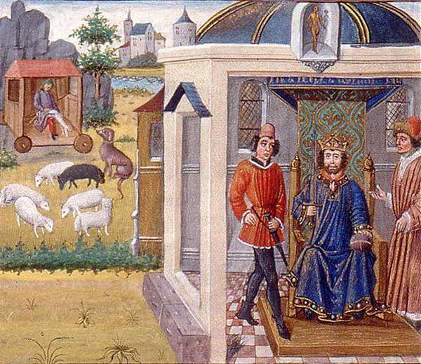 La roulotte de berger d'après des enluminures de la fin du Moyen Âge - Christian Lassure