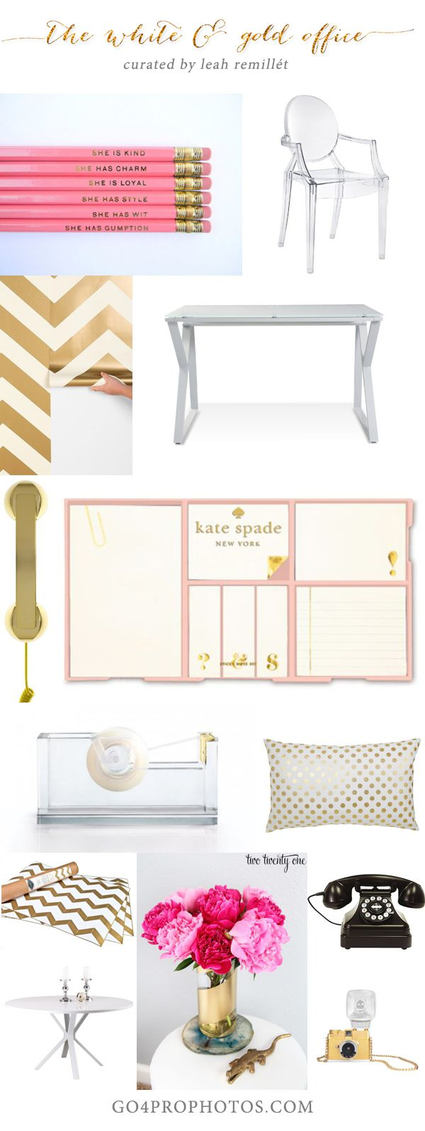 Luxe White and Gold Chic Home Office