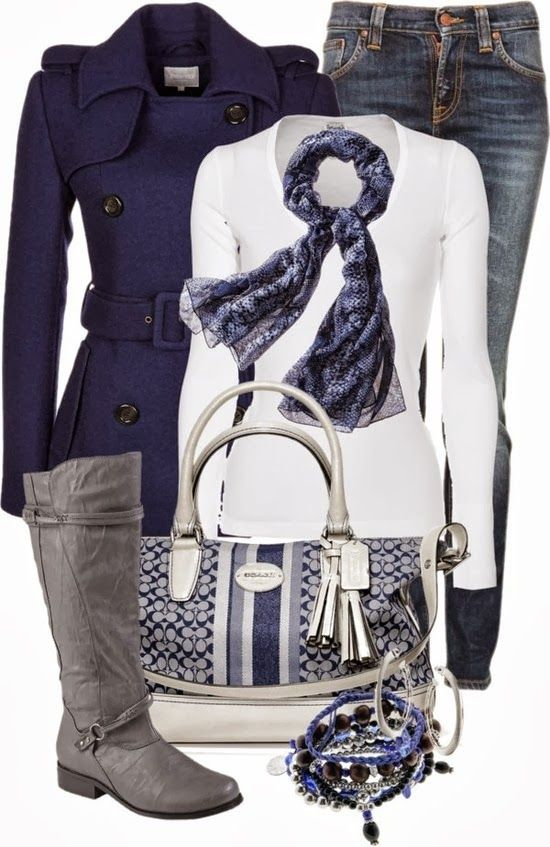LOVE the purse and the gray boot... and the navy coat. ok I just love it all. why am I not trendy enough for this?!