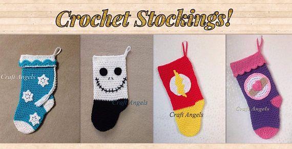 Crochet Christmas stocking, Elsa stocking, crochet super hero stocking, jack stocking, doc mcstuffins stocking, flash stocking, stockings