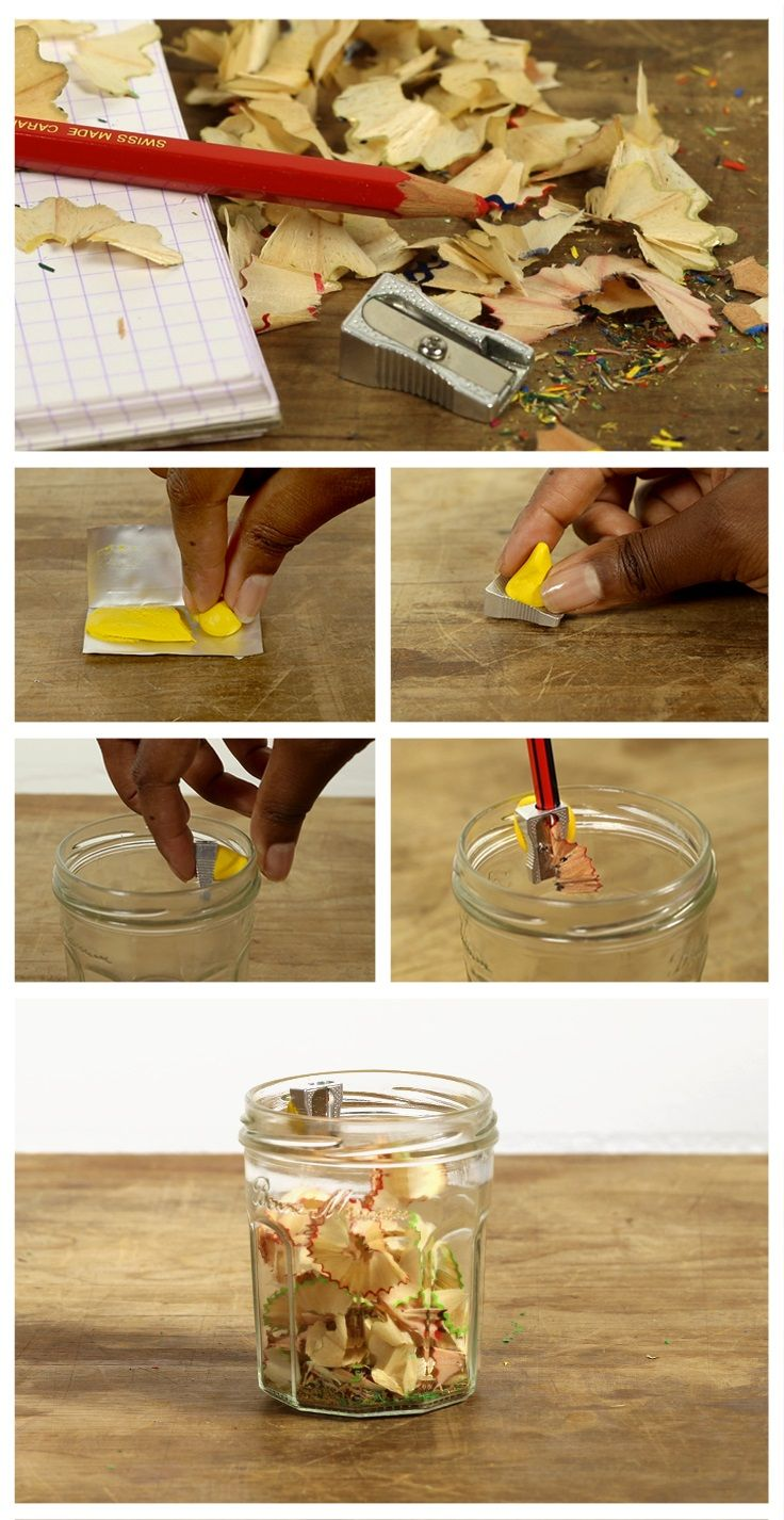 Upcycle a jar and make your own DIY pencil sharpener pot with Sugru.