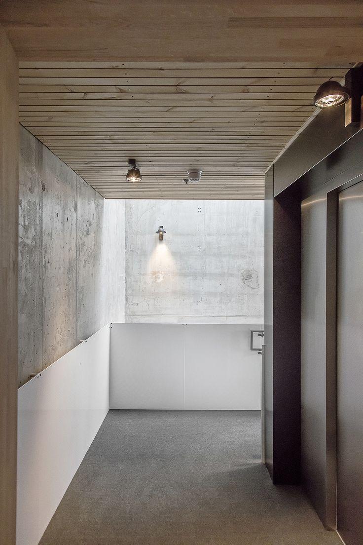 Oslo apartment complex by Various Architects. Garage entrance. Elevator. Parking. Modern Architecture, Norwegian Architecture. /  Oslo leilighetskompleks av ulike arkitekter. Garasje inngang. Heis. Parkering. Moderne arkitektur, norsk arkitektur.