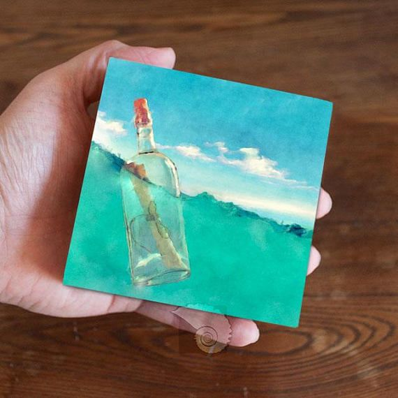 Ocean painting, 4×4, watercolor painting, watercolors, water art, message in a bottle, lost at sea,
