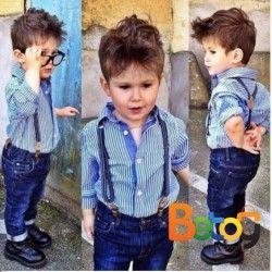 Conjunto para niño con tirantas, jean y camisa a rayas