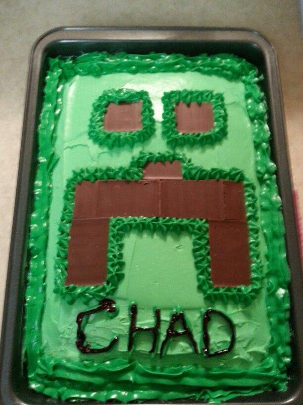 Homemade minecraft cake. Very fun to make. Happy Birthday Chad!