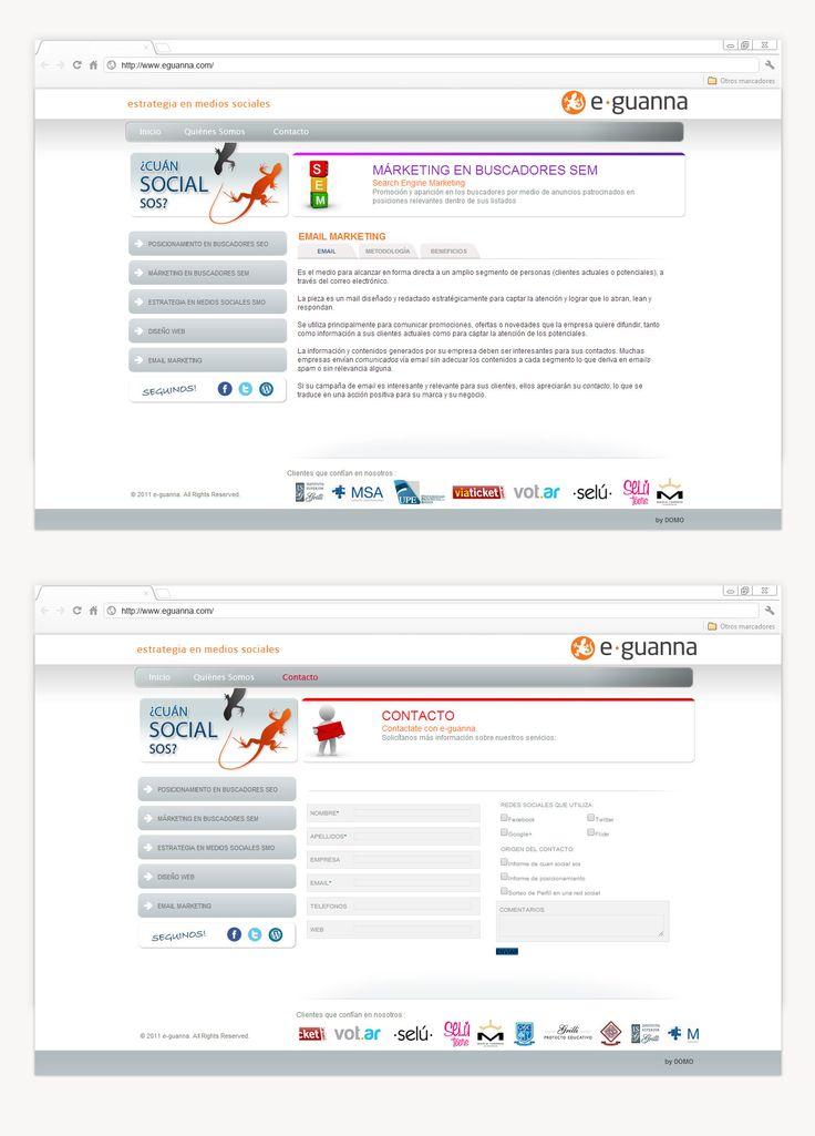 En DOMO desarrollamos la identidad de e·guanna, diseñando una marca pregnante y legible y su página web. En cuanto al landing, resulta eficaz en su navegabilidad, manteniendo un diseño equilibrado y prolijo, incorporando dinamismo con un slider informativo.