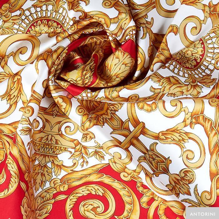 ANTORINI Vintage Silk Scarf in Red