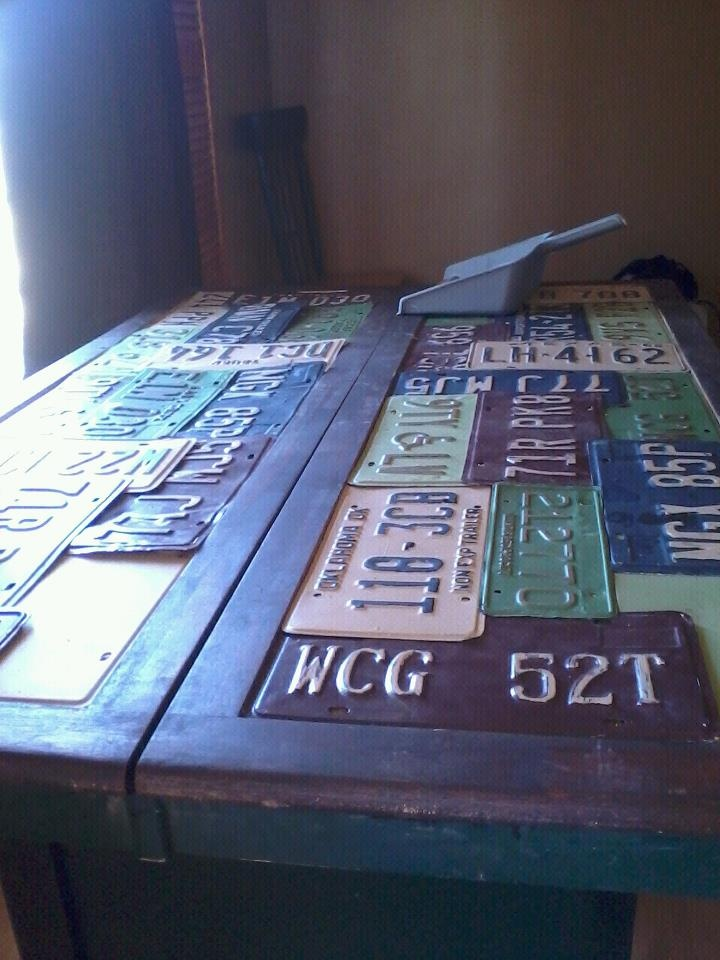 Repurposed, upcycled, reused license plate table