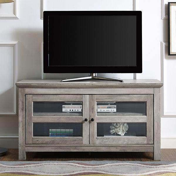 Gray Wash 2 Door Media Cabinet From Kirkland S In 2020 Flat Panel Tv Media Cabinet Tv Stand Cabinet