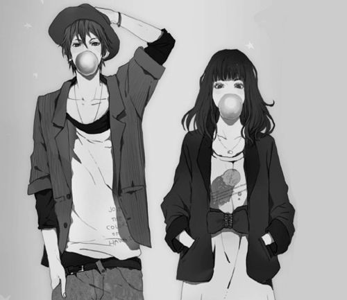 Anime couple tumblr black and white google search - Image manga couple ...