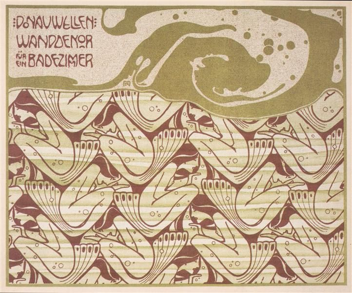 Danube waves, 1901 by Koloman Moser. Art Nouveau (Modern). design