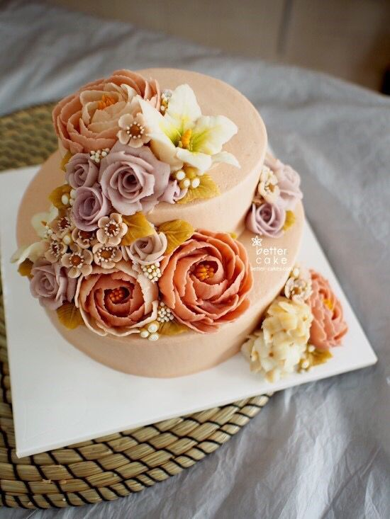 **Butter cream + Bean paste FLOWER CAKE** Done by me www.better-cakes.com Inquiry : bettercakes@naver.com