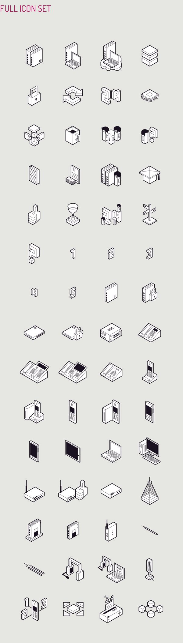 Isometric Icon Set. Gdansk, Poland-based branding and graphic design studio Perconte was asked by Datera SA to create an icon set consisting of 60 custom m