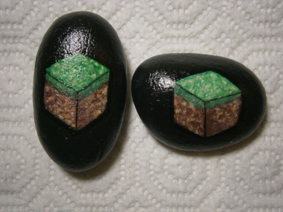"Painted rock ""MINECRAFT"""