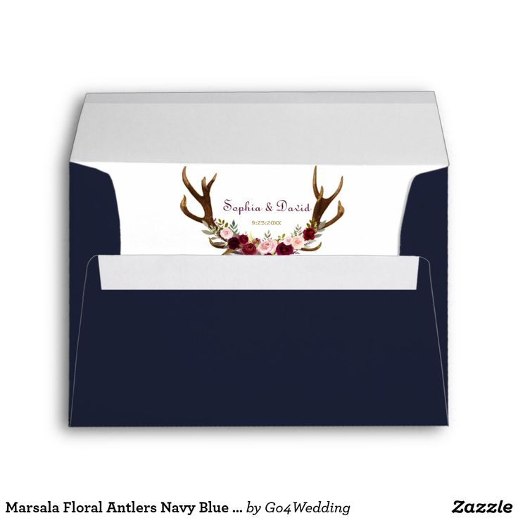Marsala Floral Antlers Navy Blue Fall Wedding Envelope Rustic, Bohemian design for special, all seasons events! This design features deer antlers, marsala flowers bouquet, arrows with marsala flowers and a on the back a navy blue background. Use Customize tool to add your info; you can change colors, fonts. For more, visit please, my Marsala Floral Antlers Navy Blue Collection.