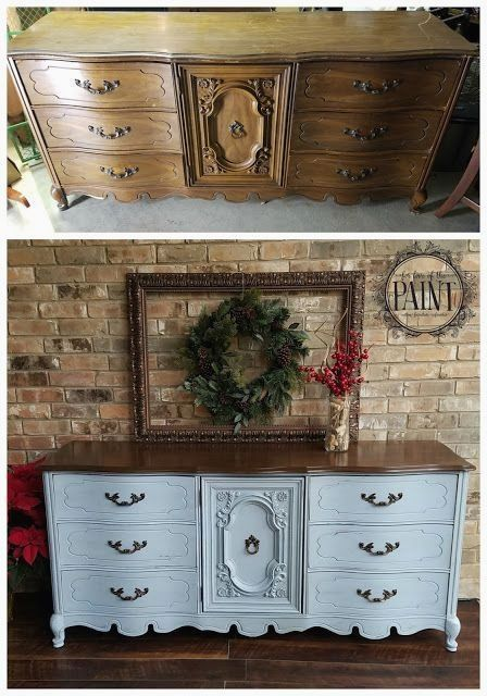 For Love of the Paint: Before and After : 9 Drawer Bassett French Provincial Dresser in Annie Sloan Chalk Paint Louis Blue and General Finishes Antique Walnut Gel Stain. A gorgeous combination for your DIY or upcycle project, perfect for a modern vintage, farmhouse style, or shabby chic home decor! #shabbychicfurniturebeforeandafter #shabbychicdressersdiy