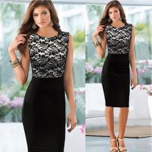 2015 Pinup Elegant Floral Lace Dress Knee-Length Colorblock Shift Bodycon Casual Pencil Dress(China (Mainland))
