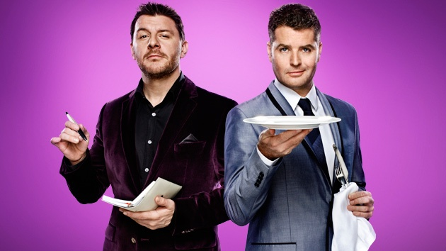 My Kitchen Rules (Australia) - The one in black is French/Australian Manu Fieldel the other is Australian Pete Evans -  Top chefs and judges on the show.