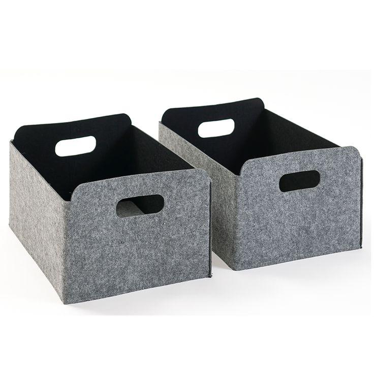 Aria kurv filt grå 2 stk -        Leve Interiør