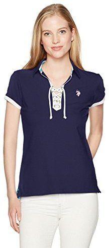 U.S. Polo Assn. Women's Laceup Pique Polo Shirt