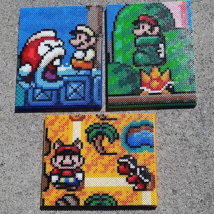 Super Mario scenes perler beads by shampooteacher