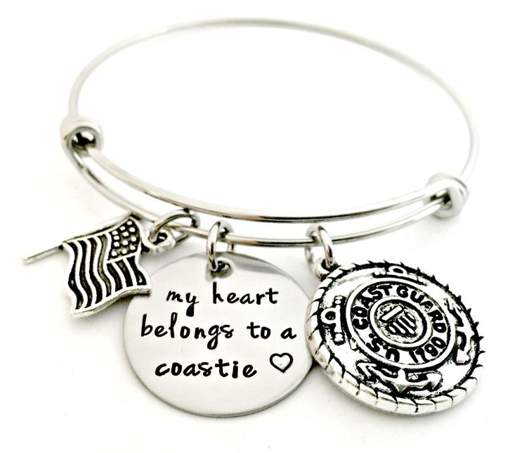 Coastie Bracelet - Deployment Military Wife Jewelry - My Heart Belongs to a Coastie Expandable Bangle - Coast Guard Wife Girlfriend Fiance by ForeverHeartPrints on Etsy