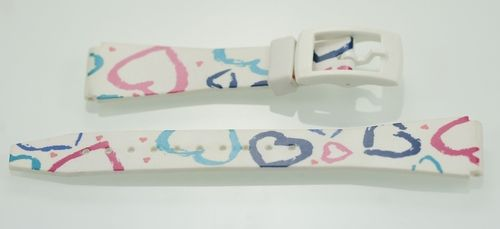 Women's White w/Hearts Rubber Replacement Watch Band 18mm