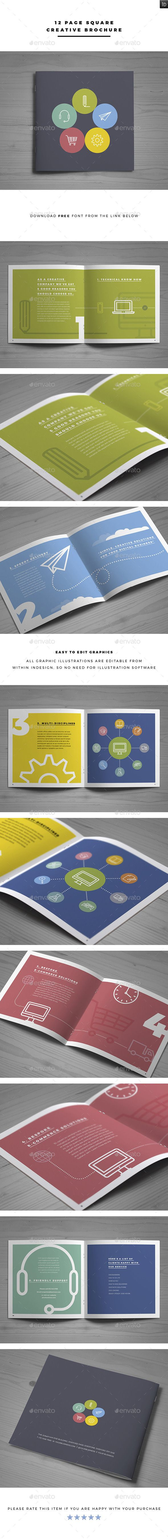 12 Page Square Creative Brochure - Brochures Print Templates