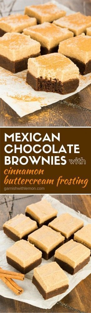 Mexican Chocolate Brownies with Cinnamon Buttercream Frosting! Spicy ...