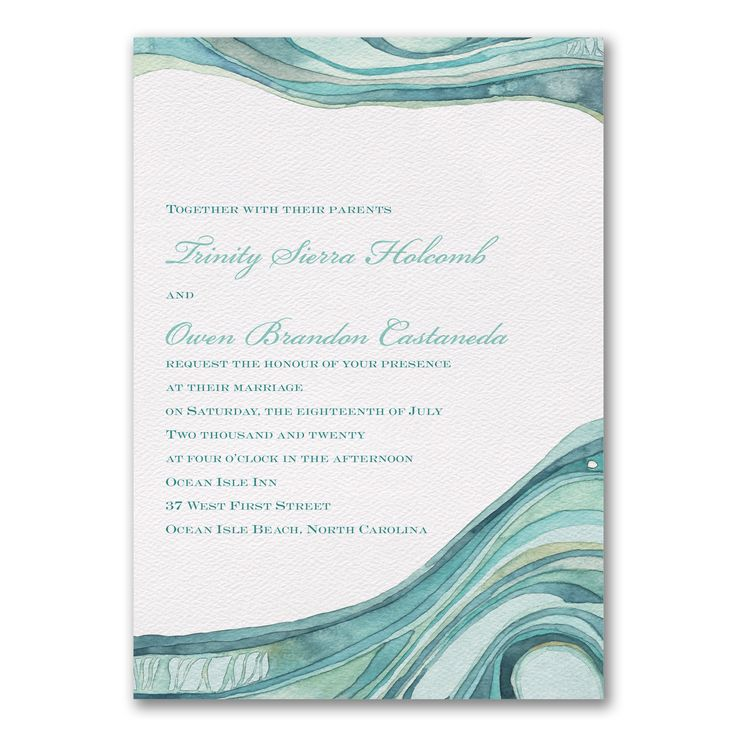 paper style wedding invitations%0A Ocean  Beautiful ocean inspired Wedding Invitation designed by Designer  Shell Rummel for Carlson Craft
