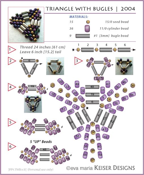 """""""Triangle With Bugles"""" Beaded Bead tutorial on blog of Eva Maria Keiser under date 19 August 2010. Tutorial is 1 Page.      [LOTS of great tutorials.]  [3 of 3]"""