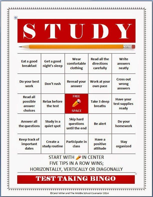 Test Taking and Study Skills Bingo   Elementary Resources ...