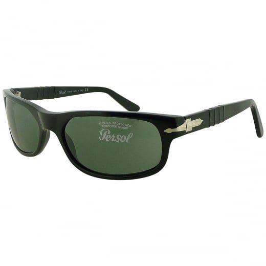 Persol Black Wrap Sunglasses With Meflecto Flexi Stem And Green Crystal Lenses. Model Number: 2604-S 95 31. A classic choice with enduring appeal.