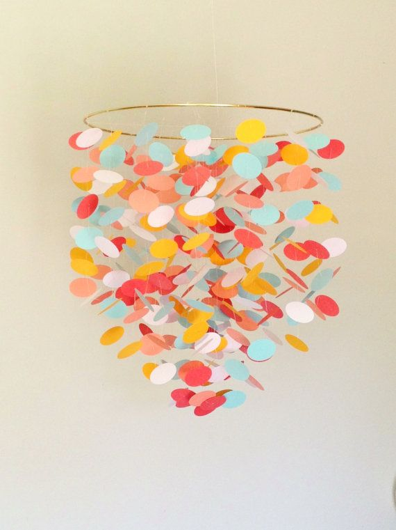 Baby Mobile in coral and aqua--Hanging Crib Mobile for modern nautical nursery