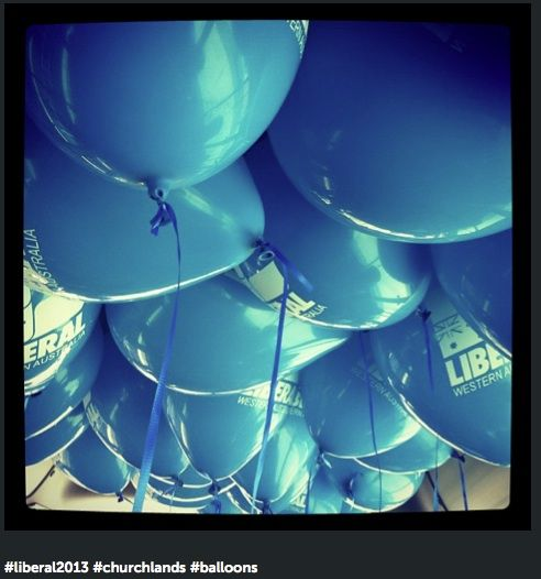 Balloons at a Liberal Party Election Night party
