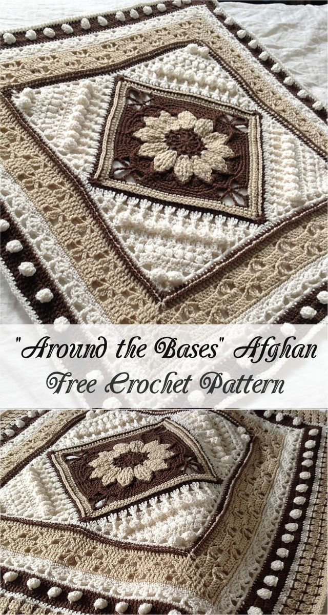 [Free Crochet Pattern] Around the Bases Afghan #crochet #crochetpattern #crocheting #motif