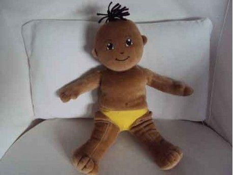 "Cuddly 12"" Rag Doll (Unclothed) - Chinese Oriental Boy - He has a small tuff of very dark brown hair, lovely caramel skin and big hopeful eyes. This little one comes with a pair of bright yellow pants, but perhaps you'd like to dress him up in something fit for winter!"