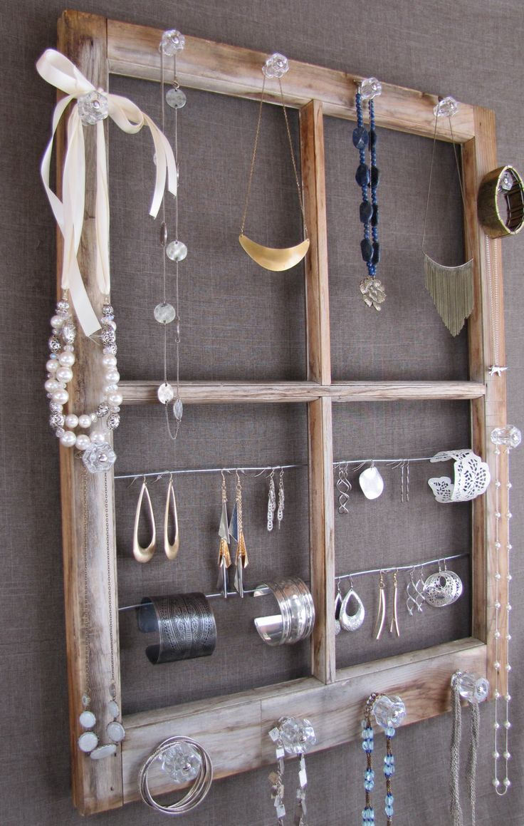 Repurposed Window Pane Jewelry Display 47 best