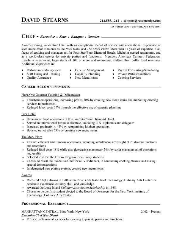 professional resume cover letter sample chef resume free sample culinary resume