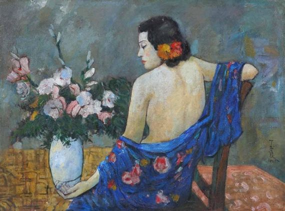 """Lady in Blue Dress (Femme de dos au Vêtement Bleu)"" (1942) by Pan Yuliang (1895-1977). Oil on canvas. Dimensions: 91x72.5 cmSource: MutualArt"