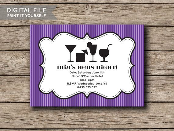 Printable DIY Invite Hens Night / Bachelorette by shopmarigoldlane