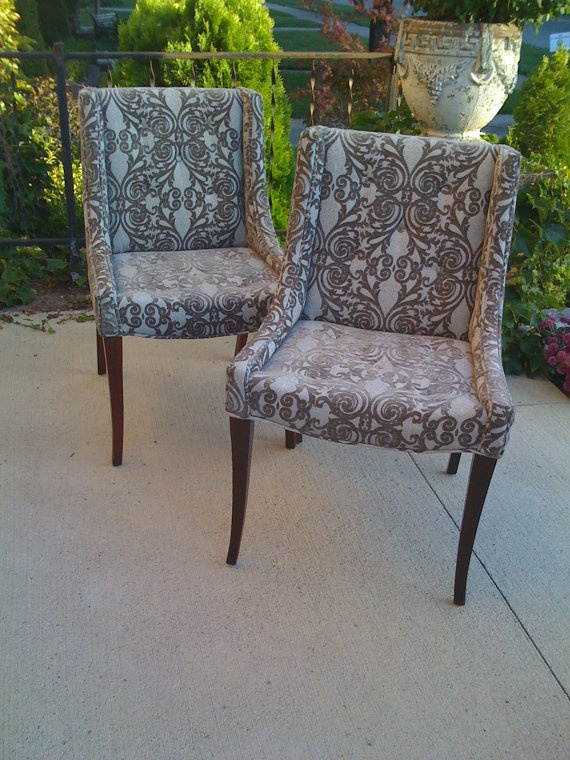 Pair vintage antique mid century dining accent side desk livingroom chairs newly reupholstered