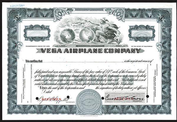 Vega Airplane Co. (A Lockheed Corporation Subsidiary), ca.1920-1930 Specimen Stock. - Archives International Auctions
