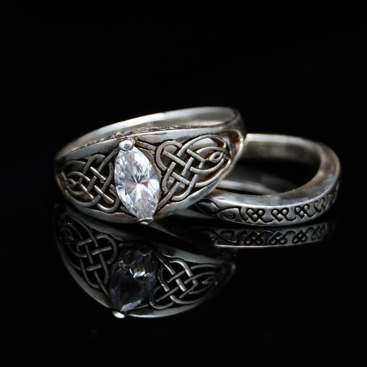 celitc heart knot wedding set engagement ring and wedding band 24000 via etsy - Viking Wedding Rings